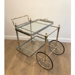 Rare Silvered on Brass Drinks Trolley