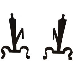 Pair of Steel and Wrought Iron Andirons