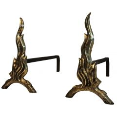 Pair of Bronze and Wrought Iron Flame Andirons