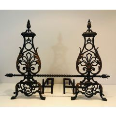 Important Pair of Wrought Iron Andirons