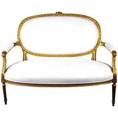 Mid 19th Century Gustavian Gilt Carving Sprung Sofa