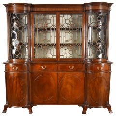 Large 19th Century English Victorian Mahogany Inverted Breakfront Bookcase