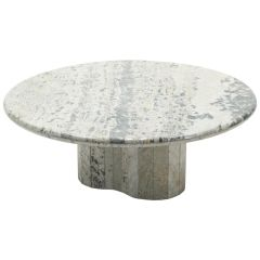 Large Round Coffee Table Made with White Sicilian Marble, 1970s