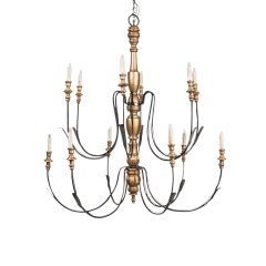 Large Metal and Giltwood Chandelier