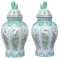 Pair of Decorative Baluster Spice Jars, Porcelain, Vase 20th Century