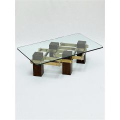 Wood, brass and glass coffee table