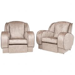 British Art Deco Armchairs Newly Upholstered in a Snakeskin Style Fabric