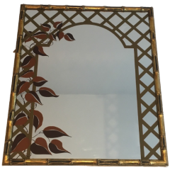 DECORATIVE FAUX-BAMBOO GILT WOOD MIRROR WITH PRINT