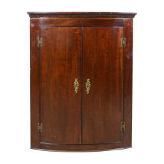 Antique Corner Cabinet, Late Georgian, Bow Fronted, Mahogany, Hanging circa 1800