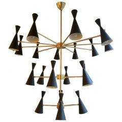 Italian Modern Conical Shade Chandelier