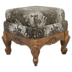 French Footstool Vintage Louis XV Rev Oak Upholstered Recover or Use