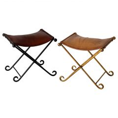 Pair of French 1940s Wrought Iron and Leather Stools