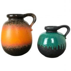 """Set of Two Pottery Fat Lava Vases Model """"484"""" Made by Scheurich, Germany, 1970s"""