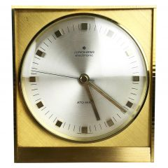 Vintage 1960s Hollywood Regency Brass Table Clock Junghans Electronic, Germany