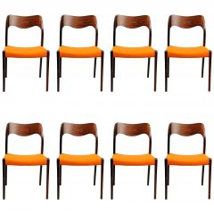 1960s Niels Otto Møller Eight Rosewood Dining Chairs, Choice of Upholstery