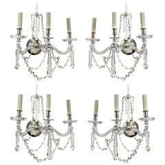 Set of Four Large 19th Century English Cut-Glass Wall Lights