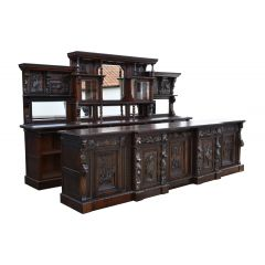 19th Century Victorian Carved Oak Commercial Front and Back Bar