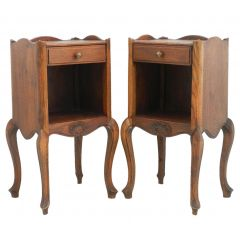 Pair of French Bedside Tables Oak Early 20th Century Louis Revival