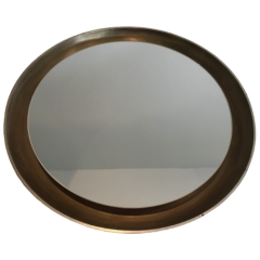 ROUND SILVER CURVED WOOD MIRROR