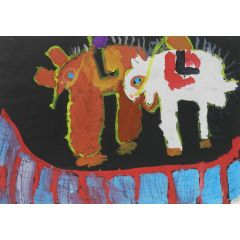 Unknown Naive Painting of Animals c1962 by Chinese School Child 1962
