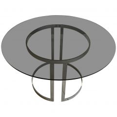 Mid-Century Modern Italian Chrome Table with Smoked Glass Top, 1970s