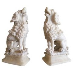 Pair of Italian Carved Alabaster Spaniels