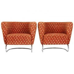 Two Jindrich Halabala Cantilevered Tubular Steel Lounge Chairs