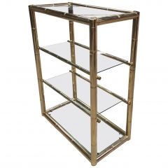 Mid-Century Modern Italian Faux Bamboo Gilt Metal and Glass Etagere