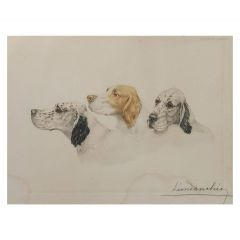 Etching Aquatint of Dogs by Leon Danchin French 1887-1938 Setters