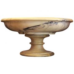 19th Century White and Flamed Creamy Beige African Marble Bowl or Centerpiece