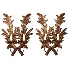 A Pair Of Large 1940S Italian Carved Giltwood Leaf Sconces With Two Fittings.