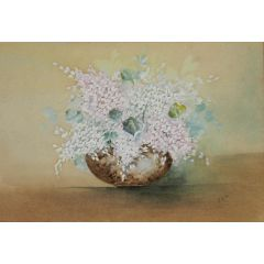 Unknown Flowers in a Bowl Watercolor English signed with artists initials 1905 1905