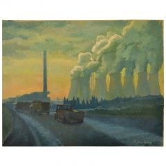 Landscape Painting with Cooling Towers by Sylvia Molloy