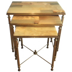Set Of Nesting Tables With Onyx Tops. Circa 1940