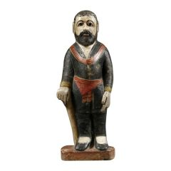 Painted Alabaster Figure of a Standing Bearded Man