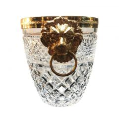 1950s Glass Ice Bucket with Metal Lion Head Handles