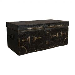 Antique Merchant's Trunk, English, Metal Bound, Ebonised, Tool Chest, Victorian