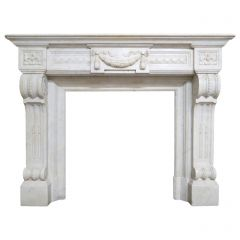 Antique French Louis XVI Style Fireplace Mantel in Carrara Marble