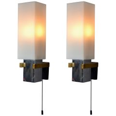 Pair of Minimal Italian 1960s Square Wall Lights with Opaline Shades