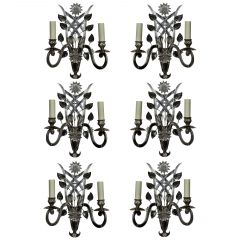 Set of Six Silver Sconces in the Manner of Baguès