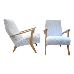 Pair of 1950s French Beechwood Armchairs