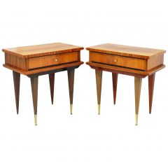 Pair of Nightstands Side Cabinets Bedside Tables French, Midcentury