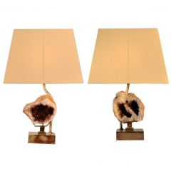 1970s Willy Daro Pair of Table Lamps with Amethyst Sculptures