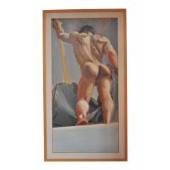 Oil on Canvas Study of a Male Nude III by Emilio Ambron