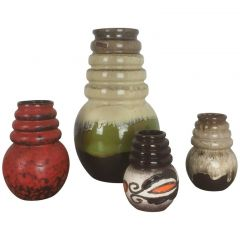 "1970s Set Of Four Fat Lava ""Vienna"" Vases, by Scheurich, Germany"