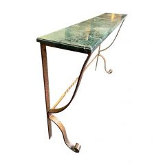 DECORATIVE SPANISH 1950S WROUGHT IRON GILT CONSOLE WITH GREEN MARBLE TOP