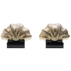 Italian Midcentury Solid Brass Scallop Table Lamps, 1960s