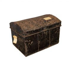 Antique Travel Trunk, English, Tin, Shipping Chest, Wildman, Vice Consulate