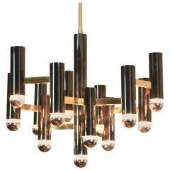 Exquisite Gaetano Sciolari Brass and Black Pearl Chandelier, Italy, 1970s