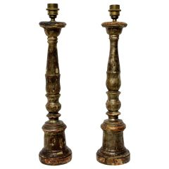 Pair of 18th Century Silver Leaf Lamps